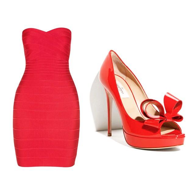 Hervé Léger Denise Strapless Dress, Valentino Couture Bow Platform Pumps
