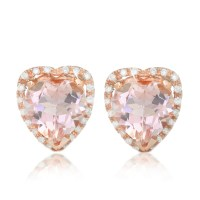 Heart Morganite Earring with Diamond Halo