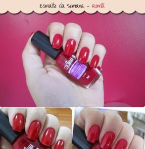 Nutriverniz Colorama Romã esmalte vermelho da semana