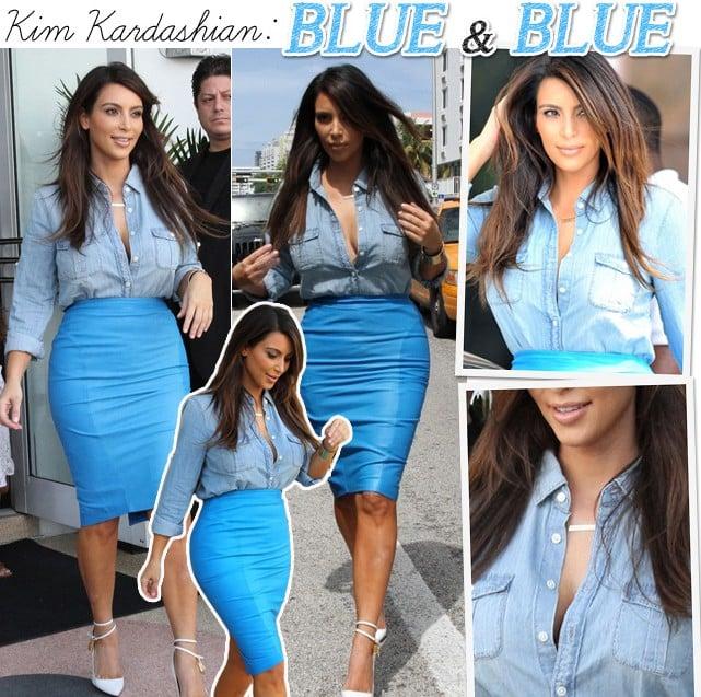 look Kim Kardashian azul e jeans blog de moda