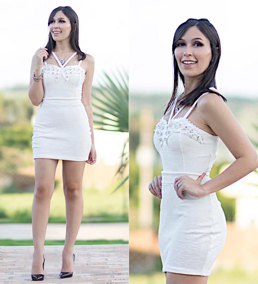 Vestido Branco com Aplicação Ypslon Atacado