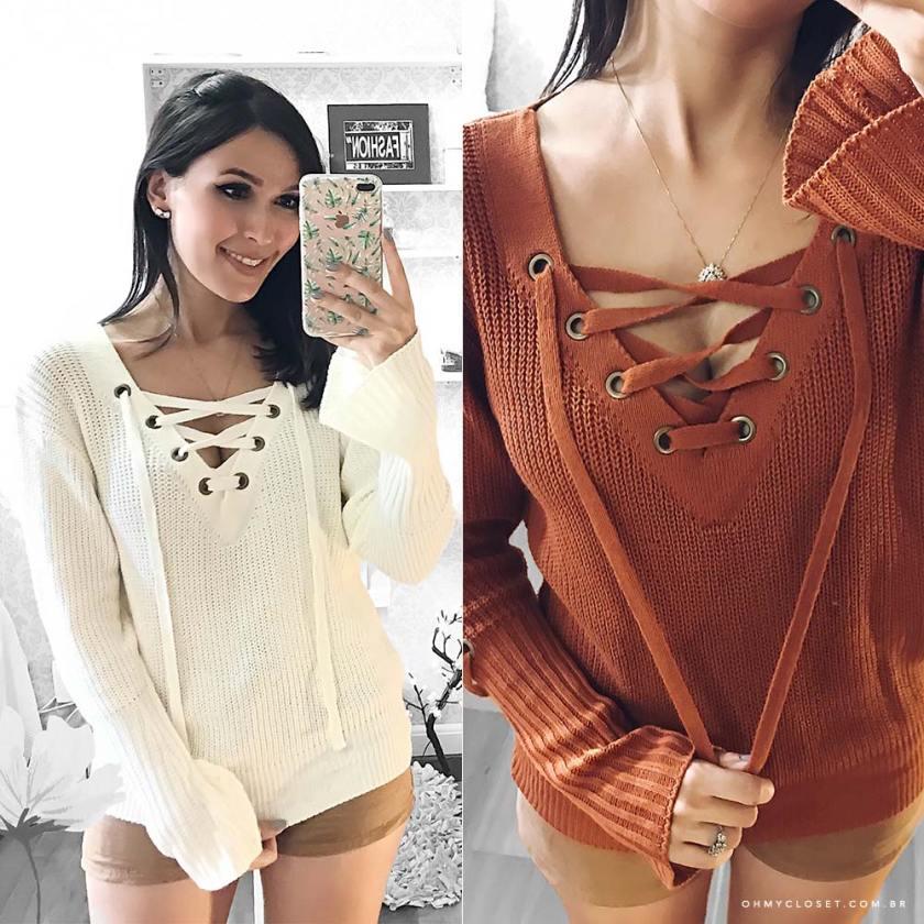 Blogger Mônica Araújo veste tricot Ypslon Atacado. Veja mais sobre essa tendência do Inverno 2017. É sweater season no Oh My Closet!