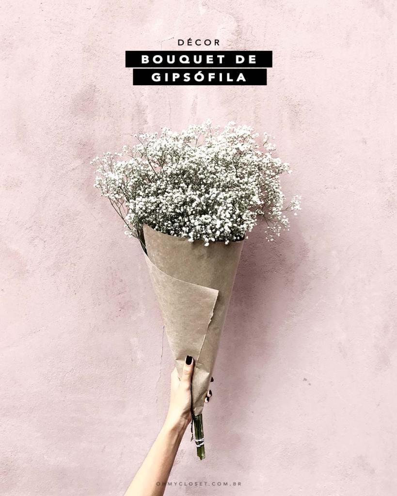 Dica de décor simples com bouquet de gipsófila. Veja ideias do Pinterest e mais dicas no Oh My Closet!