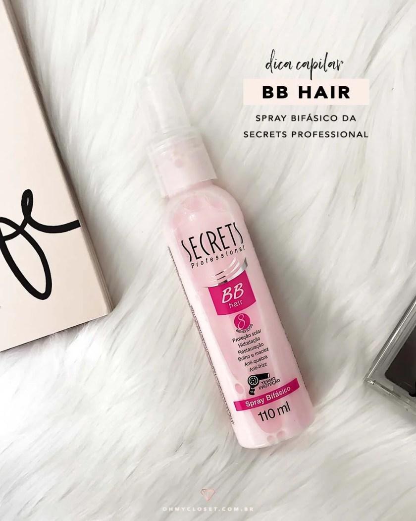 Dica de termo protetor: spray bifásico BB Hair da Secrets Professional.