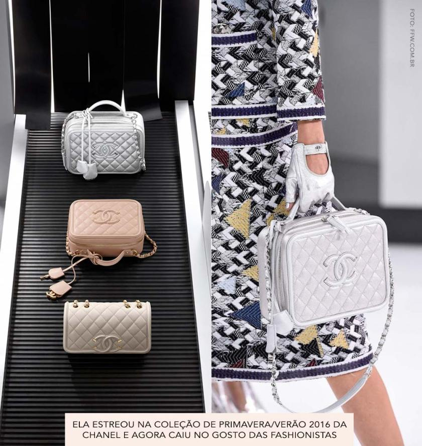 Chanel Airlines SS16 Detalhes da Vanity Case Filigree.