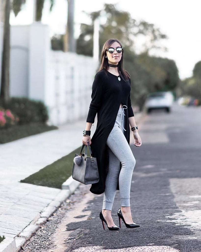 Look confortável preto e cinza com peças Ypslon Atacado.