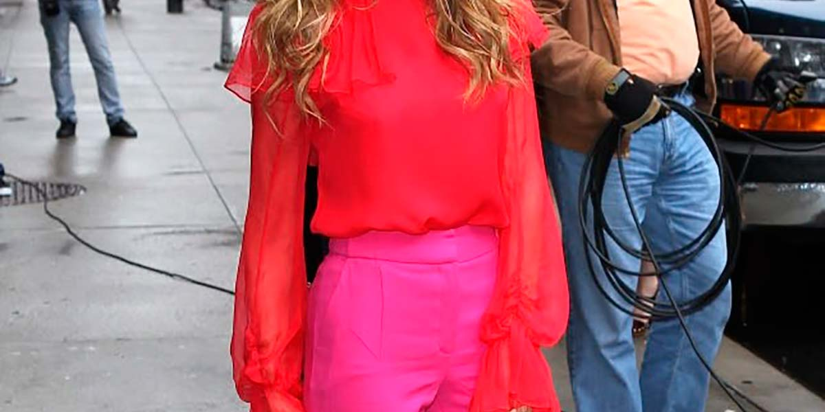 Sarah Jessica Parker com look color blocking
