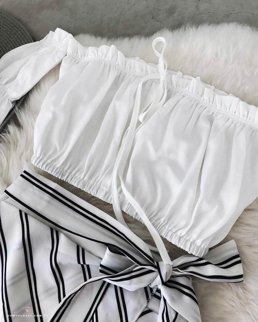 Blusa cirandinha cropped com lacinho da ToSave, site chinês de roupas baratas.