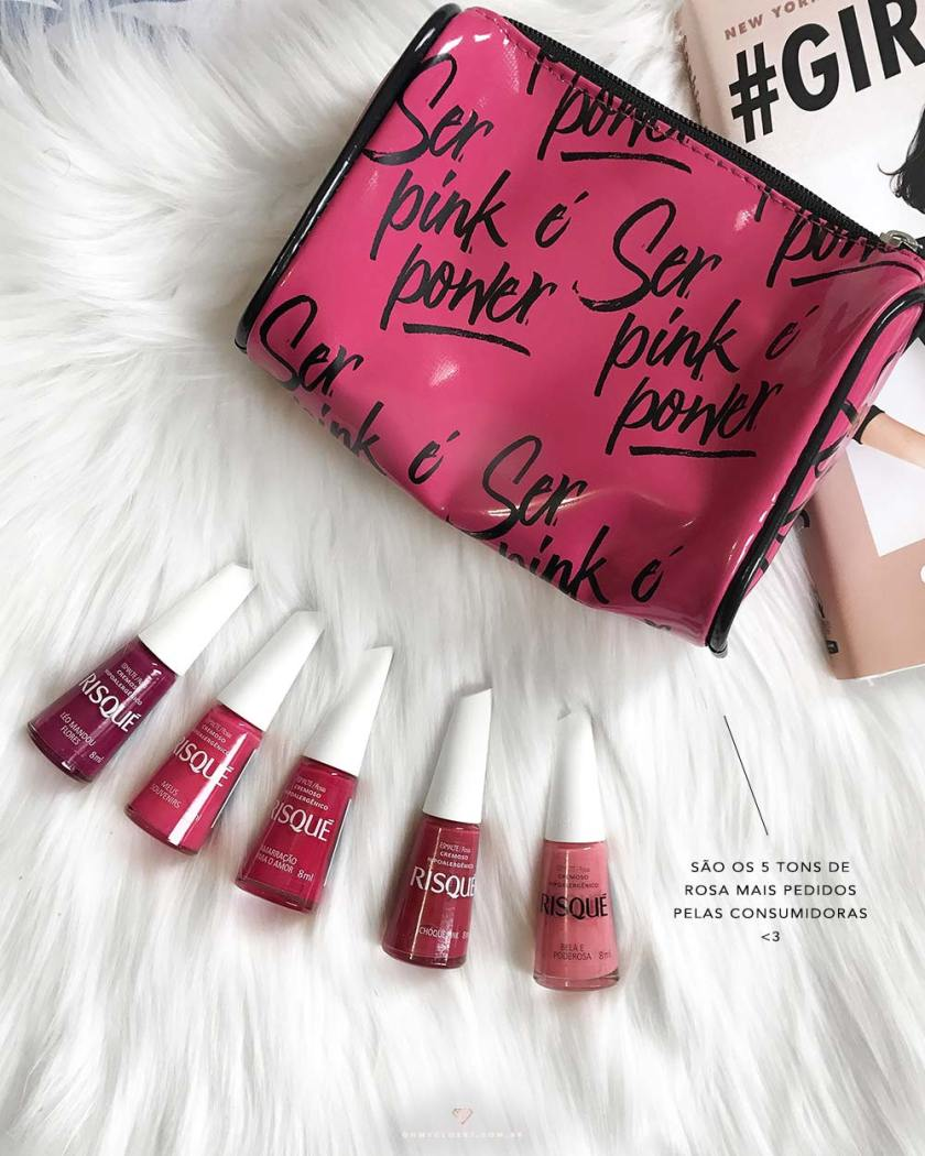 As 5 cores da coleção Ser Pink É Power da Risqué, por Mônica Araújo.