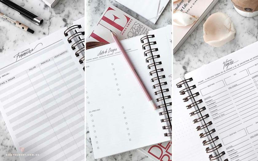 Interior do simple planner Marble Collection da ViPapier. Pegue seu cupom de desconto no OH My Closet!