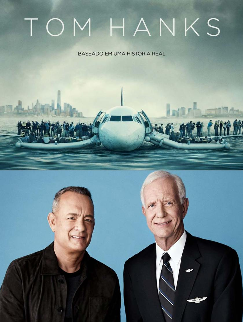 Tom Hanks e Chesley Sullenberger, da história real do pouso no Rio Hudson.