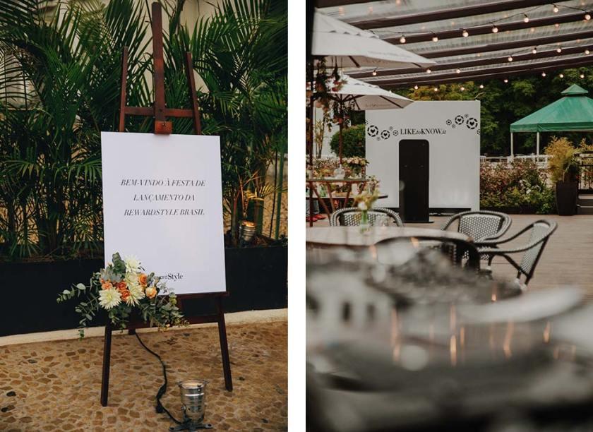 Detalhes da entrada da festa de lançamento do rewardStyle Brasil no Jockey Clube.