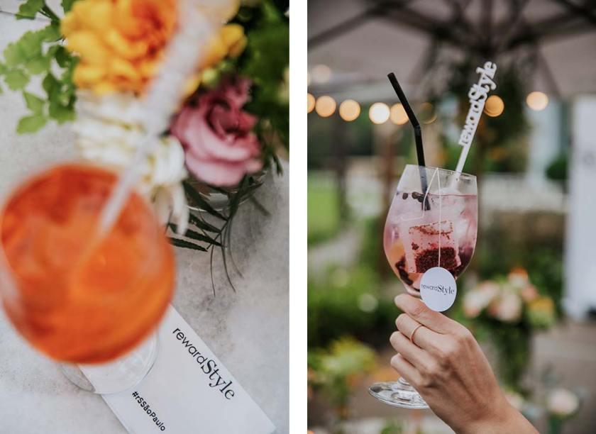 Drinks Aperol e Gin Tonica na festa do rewardStrle Brasil.