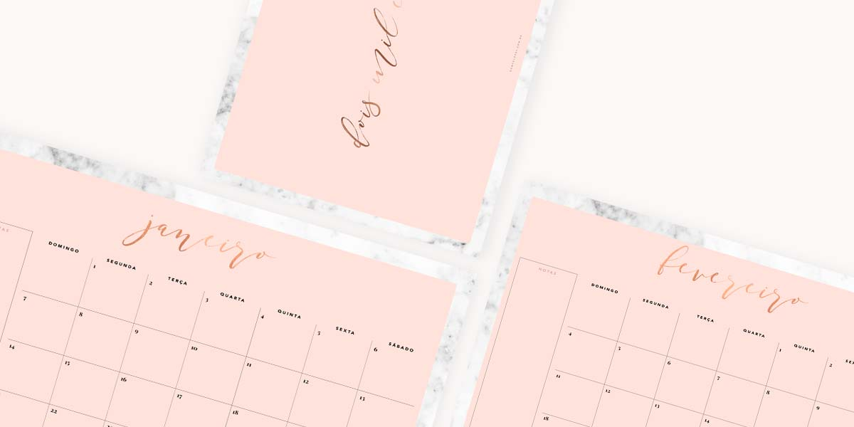 Freebie printable grátis planner mensal do Oh My Closet com design minimalista em mármore e rosa blush.