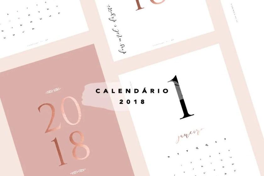 Calendário 2018 clássico e minimalista para baixar e imprimir grátis.