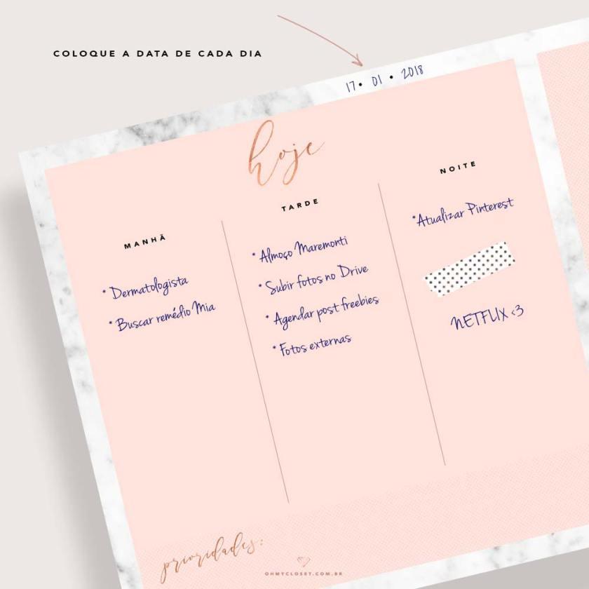 Planner diário minimalista rosa blush e mármore para imprimir.