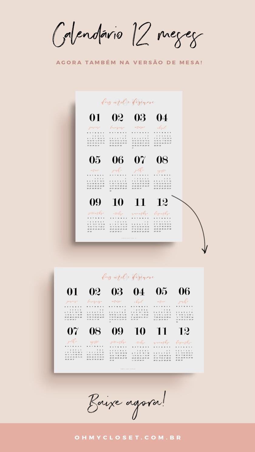 Calendário 2019 12 meses, minimalista, download grátis.