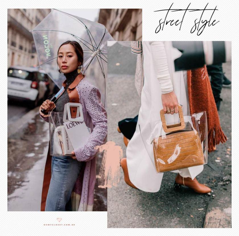 1f5f63cce Bolsas transparentes no street style com Aimee Song. Clear bags são  tendencia do verão 2019