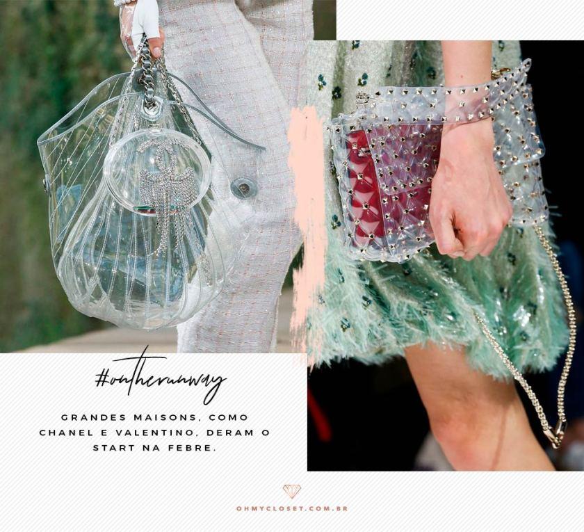 Chanel e Valentino também apostaram em bolsas transparentes, em PVC.