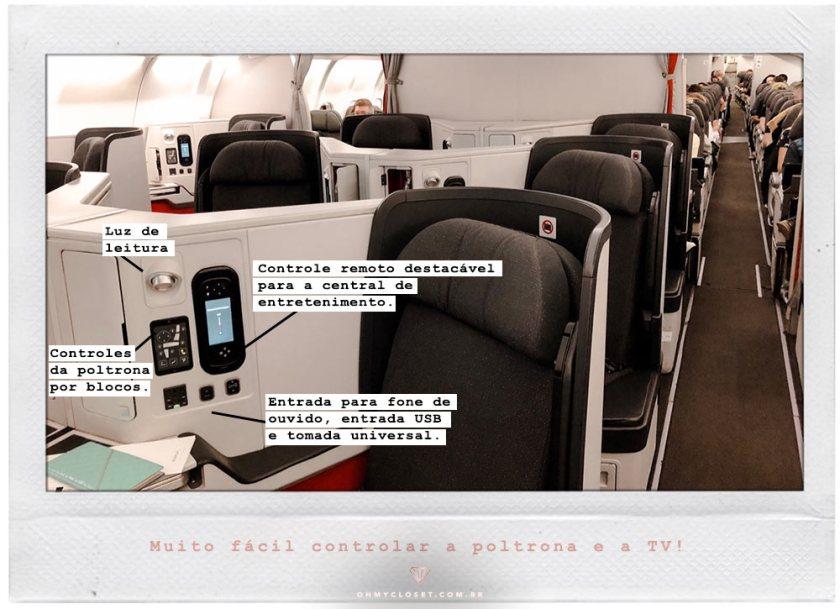 Comodidades da poltrona da Avianca em classe executiva, com entradas USB, fone de ouvido e mais.