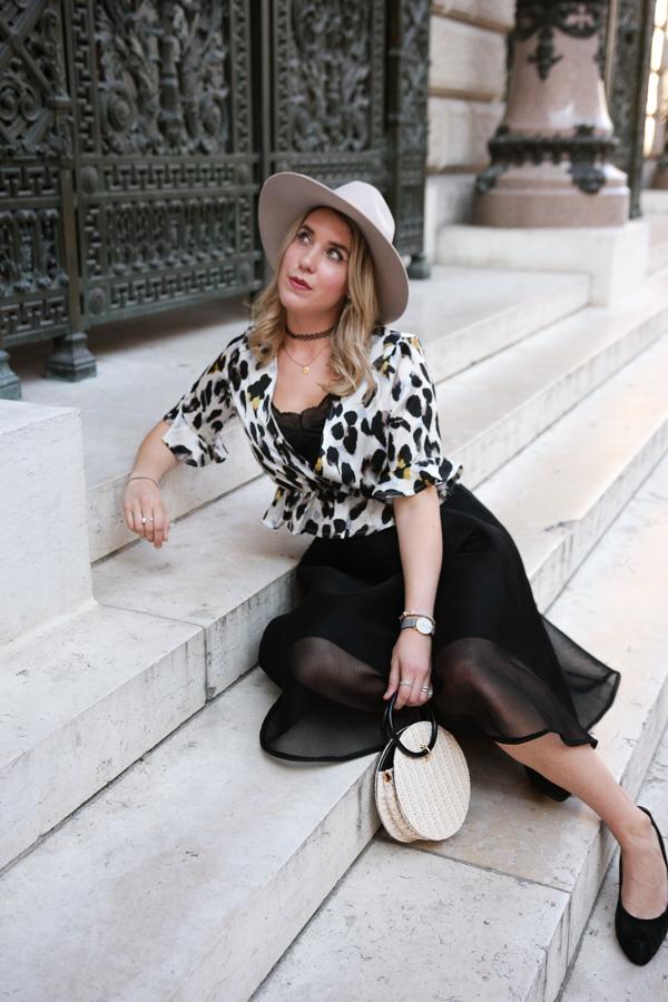 Blogueuse mode portant l'imprimé léopard
