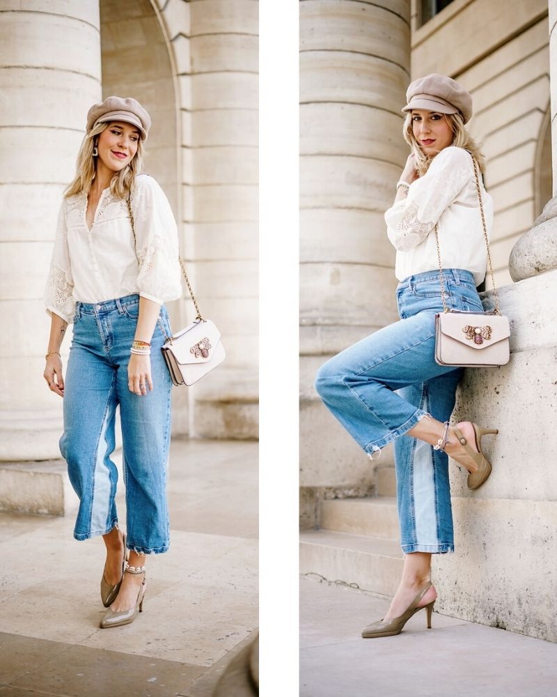 Blogueuse parisienne de mode en jeans