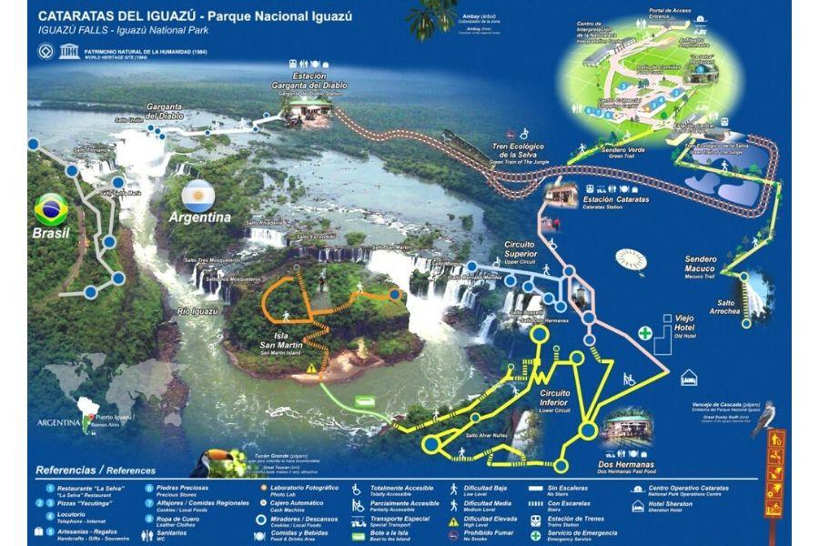 La carte des chutes d'Iguazu