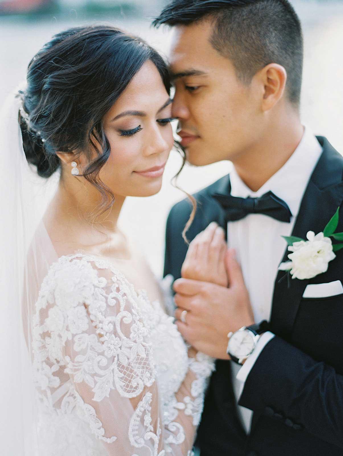 bride and groom closeup portrait.