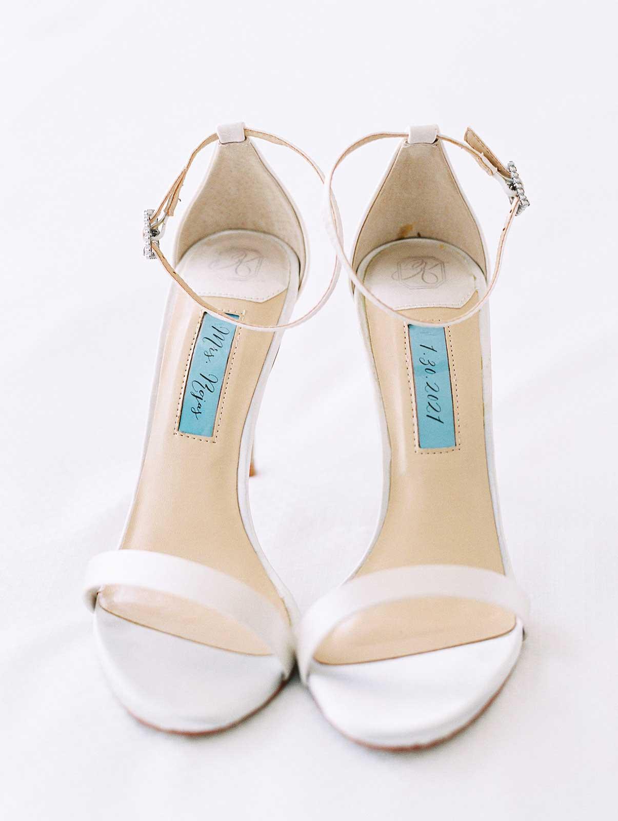 bride's white heels.