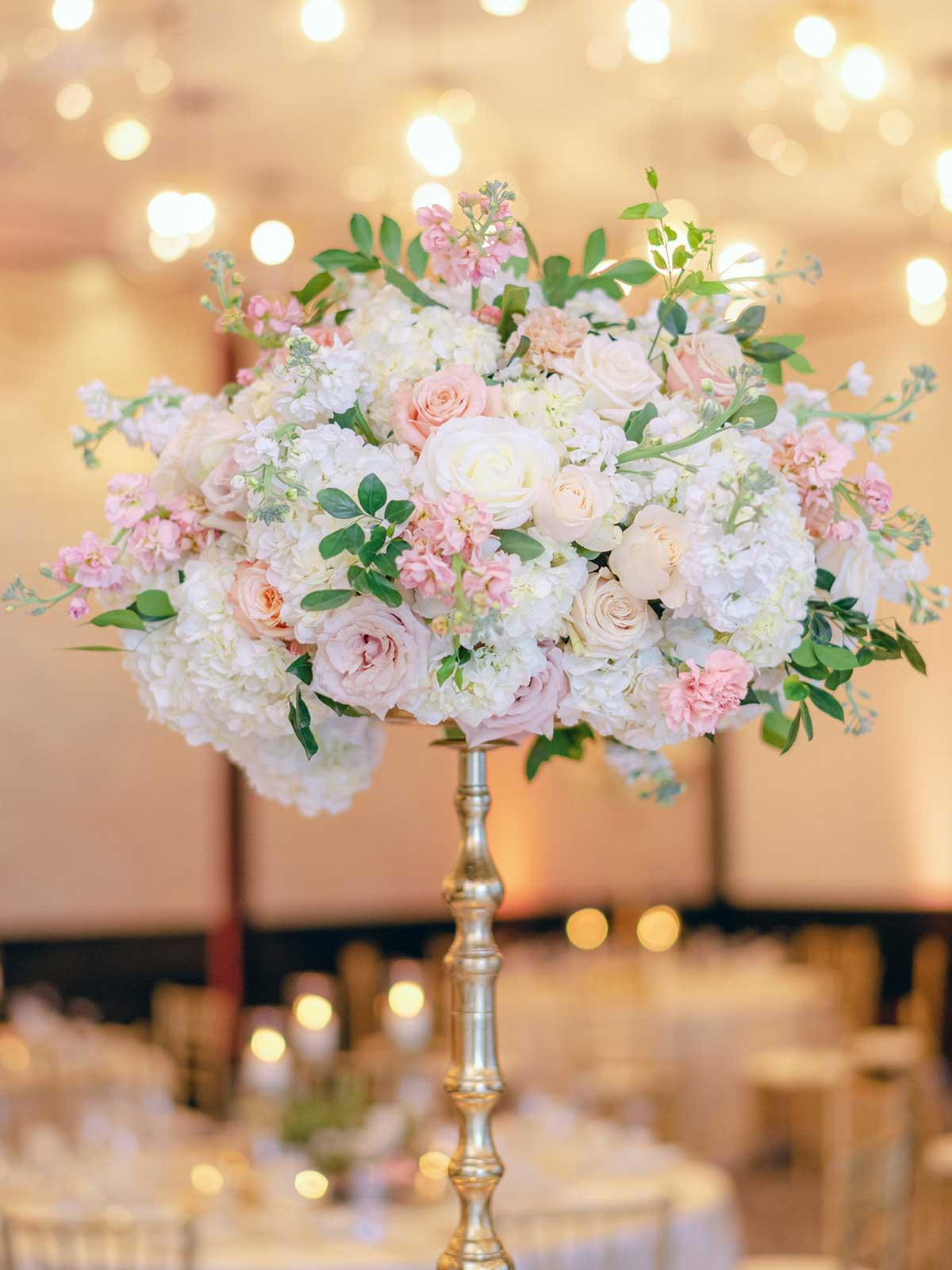 closeup of tall floral centerpiece.