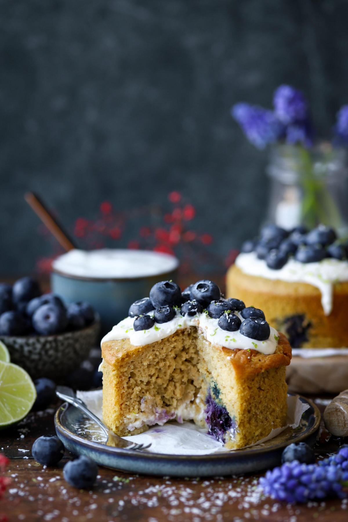 Blueberry cheesecake ontbijttaartje, glutenvrij én vegan!