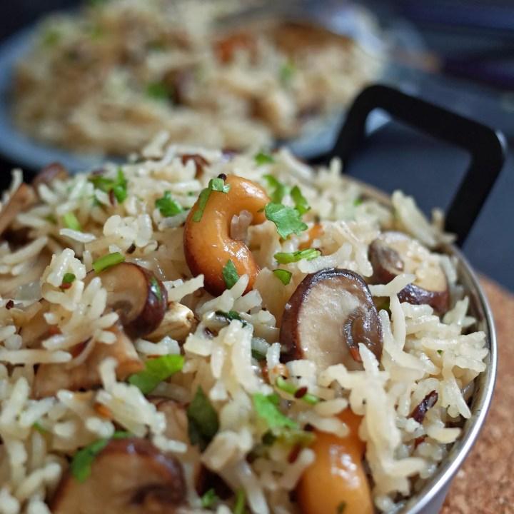 A bowl of mushroom and cashew nut pulao rice