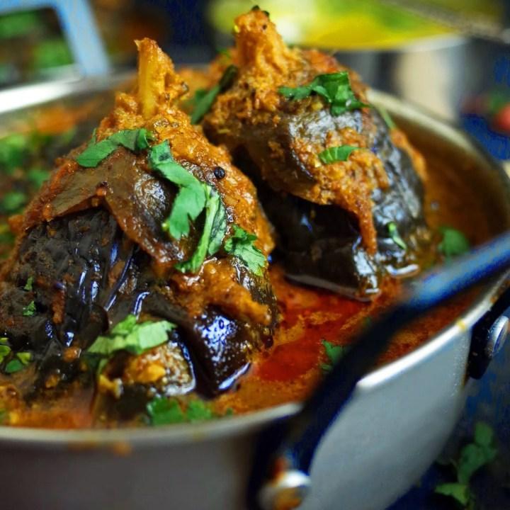 Maharashtrian Bharli Vangi Curry in a Peanut Sauce with fresh coriander