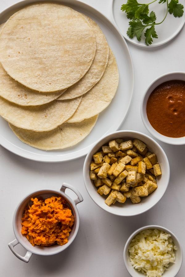Sweet Potato and Tofu Enchiladas with Mole Sauce
