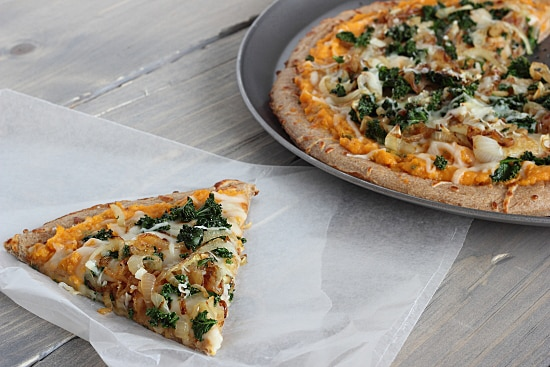 Sweet Potato Pizza with Kale & Caramelized Onions