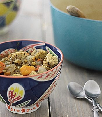 Vegetarian Irish Stew with Sweet Potatoes & Tempeh