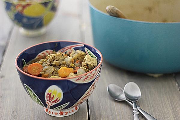 Vegetarian Irish Stew with Sweet Potatoes & Tempeh