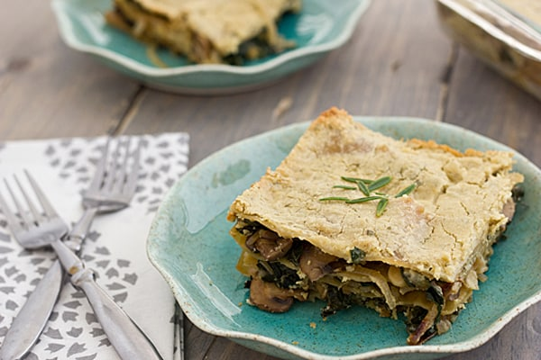 Mushroom and Kale Lasagna with Rosemary Cashew Sauce