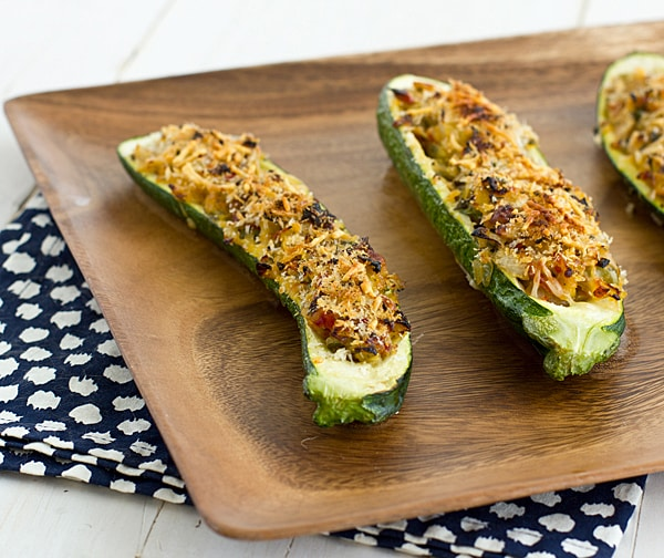 Vegetarian Stuffed Zucchini with Parmesan Panko