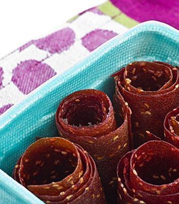 Raspberry Peach Fruit Leather Rolls