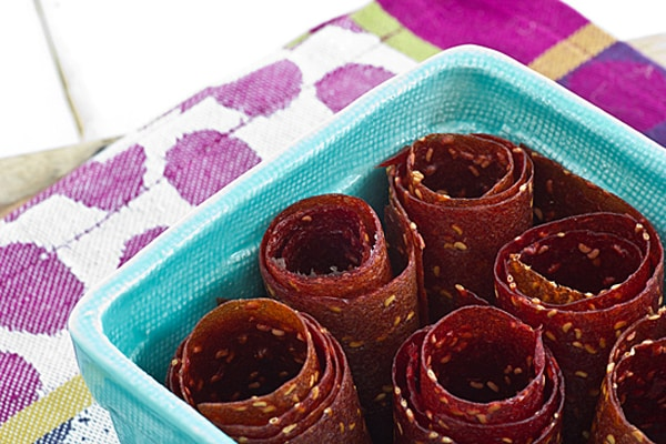 Raspberry Peach Fruit Leather Rolls