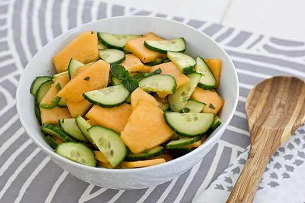 Spicy Cantaloupe Cucumber Salad