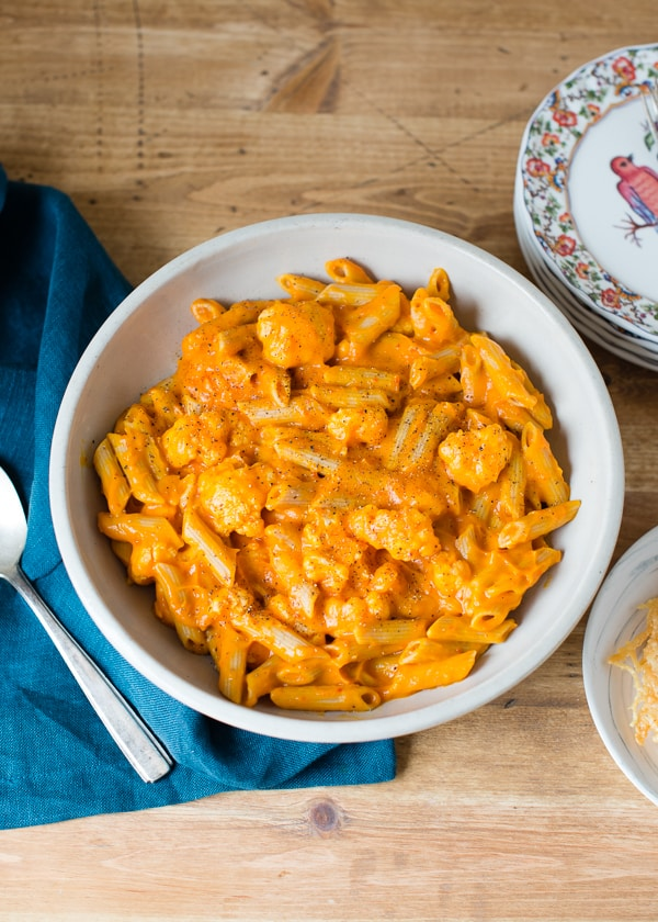 Whole Wheat Penne with Butternut Squash and Roasted Red Pepper Sauce