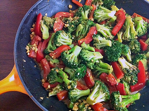 Spicy Stir Fried Broccoli and Peanuts