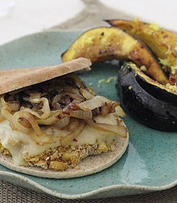 Chickpea Burger and Acorn Squash