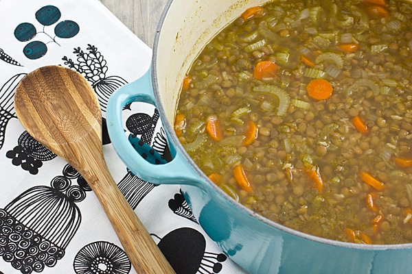 Middle Eastern Lentil & Rice Soup in Pot