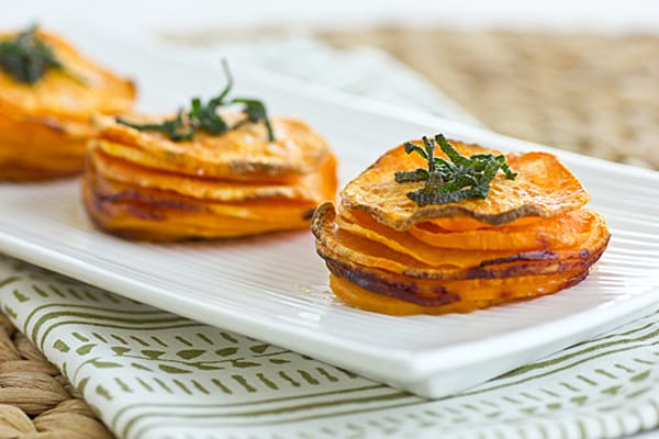 Sweet Potato Stacks with Crispy Sage Leaves