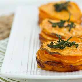 Sweet Potato Stacks with Crispy Sage Leaves [line]