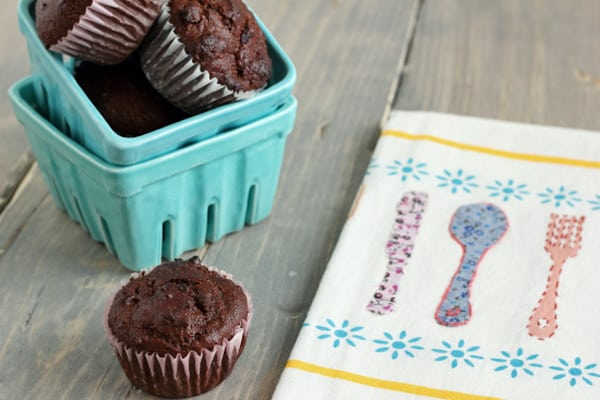 Whole Wheat Chocolate Cherry Muffins