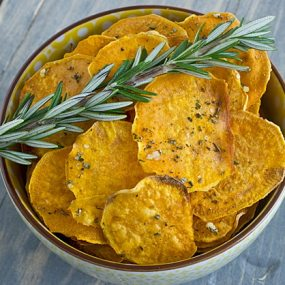 Garlic Rosemary Baked Sweet Potato Chips [Close]